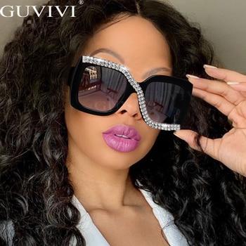 Diamond Square Sunglasses Women 2020 Luxury Vintage Oversized Sunglasses Unique One Piece Rhinestone Glasses Shades gafas de sol 1