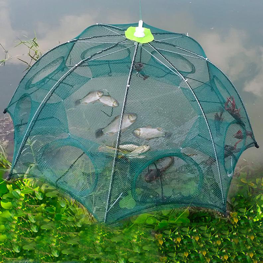 Portable Automatic Folding Umbrella Type Fishing Net Shrimp Cage Crab Fish Trap Cast Net 6 8 10 <font><b>12</b></font> <font><b>16</b></font> 20 Holes Pesca Iscas Tools image