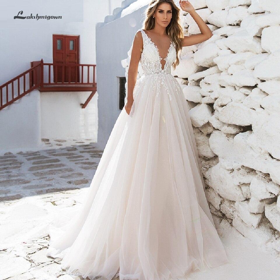 Lakshmigown Sexy Women Beach Wedding Dress Deep V-Back A Line Bridal Dress Boho Wedding Gowns Vestidos Novia Corte Sirena 2020