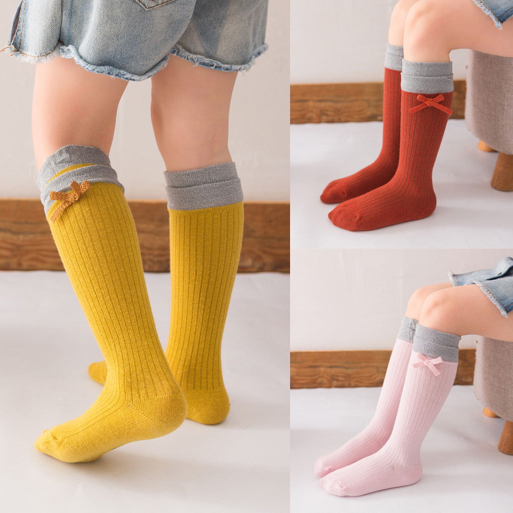 Children's Pantyhose Baby Solid Anti-Slip Knitted Long Tube Princess Stocking For Girls Knee Socks Kids Dance Tights Candy Color