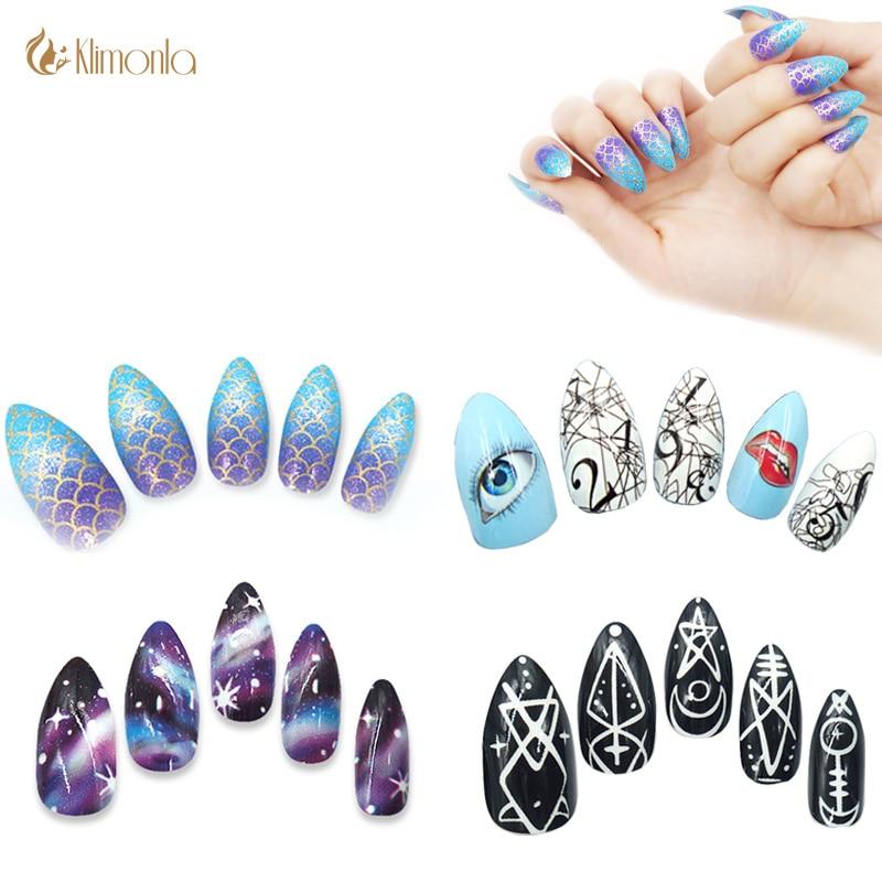 24pcs Colorful False Nails Cute Cartoon Pointed Fake Nails Full Cover Sky Nail Art Decoration Tips Manicure Beauty Tools
