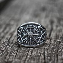 Vegvisir Viking Compass Rune Ring Asatru Celtics Knot Stainless Steel Pagan Amulet Rings Nordic Jewelry