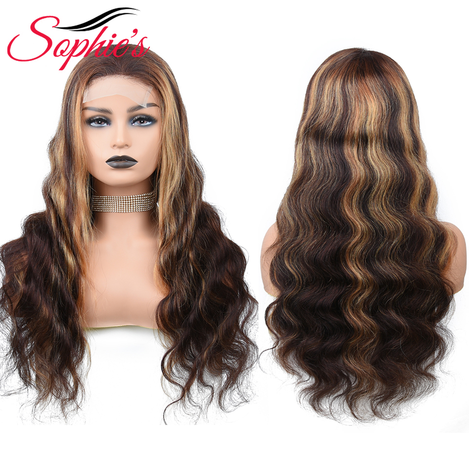 Sophie's Lace Closure Human Hair Wigs 4*4 Lace P4/27 Body Wave Wigs for Black Women Peruvian Remy Hair 10-28 Inchs 150% Density