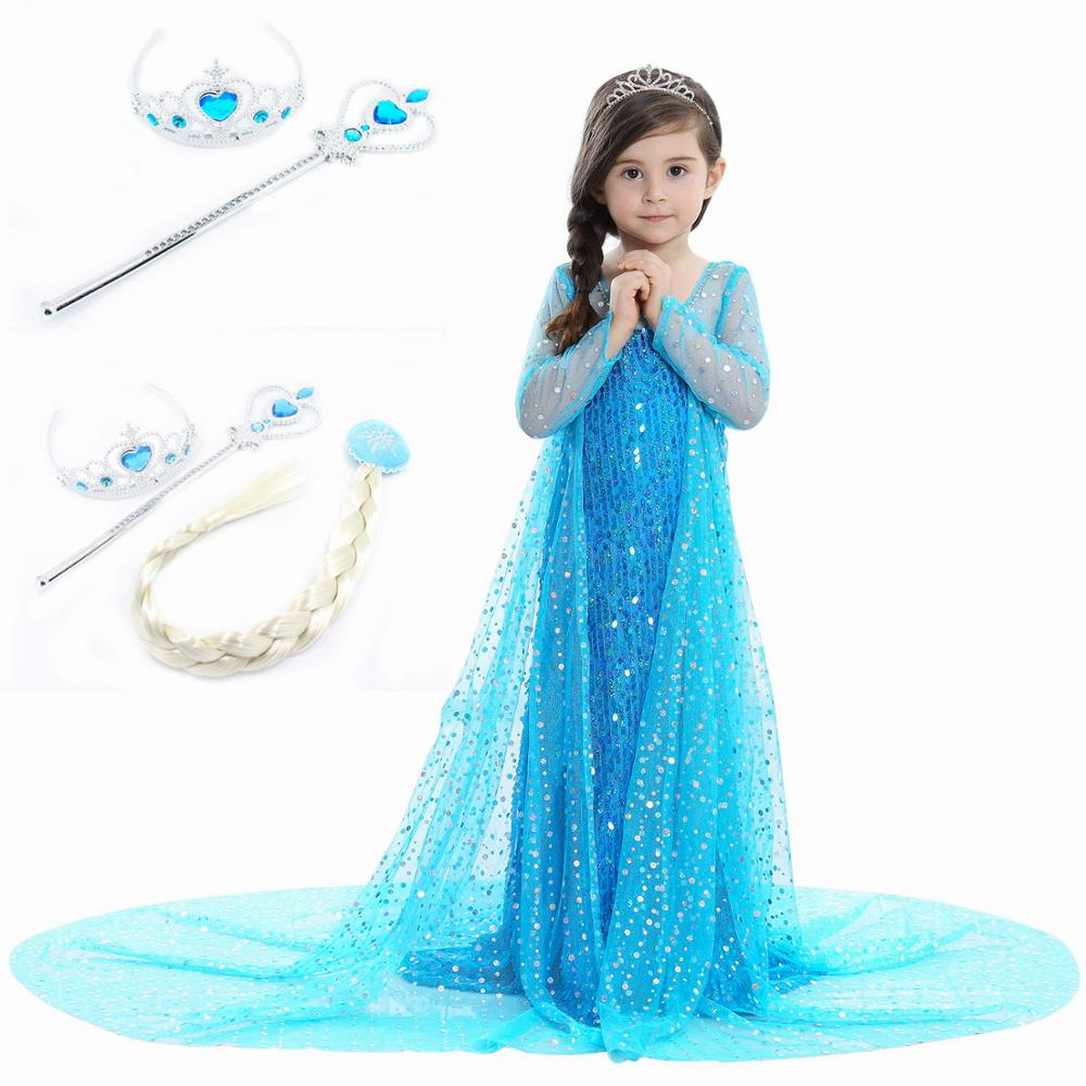 NEW Arrival!Fancy Elsa Princess Cosplay Costume Dress For Girls Party Dress Halloween Costumes Queen Elsa Dress With Wand Crown