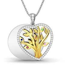 Creative Pendant Necklace for Women Heart-shaped Life Tree Two Tone Pendant Clavicle Chain Necklace two tone cut out chain bag
