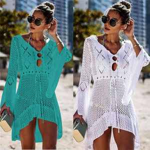 Image 3 - 2020 Summer Women Beachwear Sexy White Crochet Tunic Beach Wrap Dress Woman Swimwear Swimsuit Cover ups Bikini Cover Up #Q719