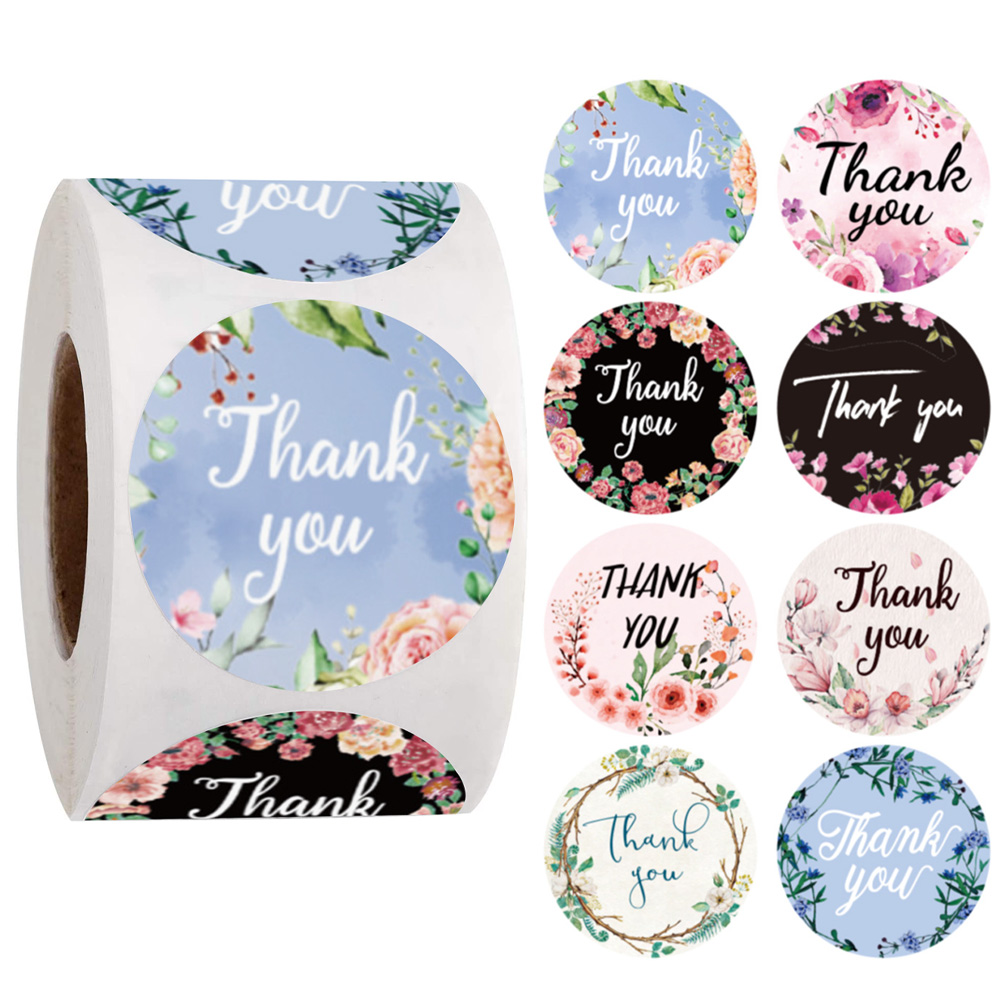 Thank You Stickers Seal Labels 100-500Pcs Flower Stickers For Hand Made Gift Or Wedding Decor Labels Stationery Stickers Rolls