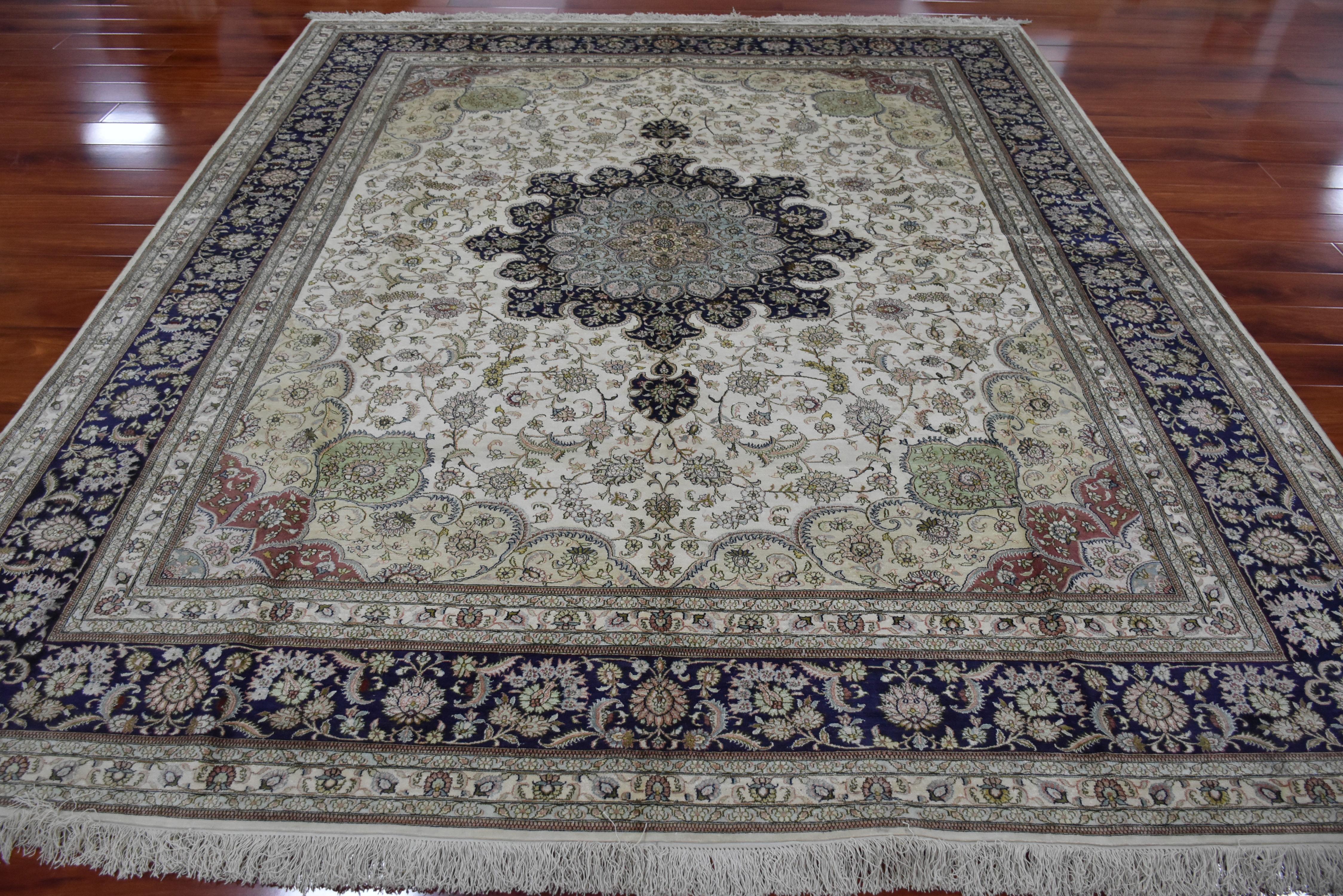 8'X10' alfombra azul hecha a mano de seda persa alfombra de Área Oriental mediana