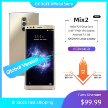 "DOOGEE Mix 2 6GB RAM 64GB ROM Helio P25 Octa Core 5.99"" FHD+ Smartphone Quad Camera 16.0+13.0MP 8.0+8.0MP Android 7.1 4060mAh"