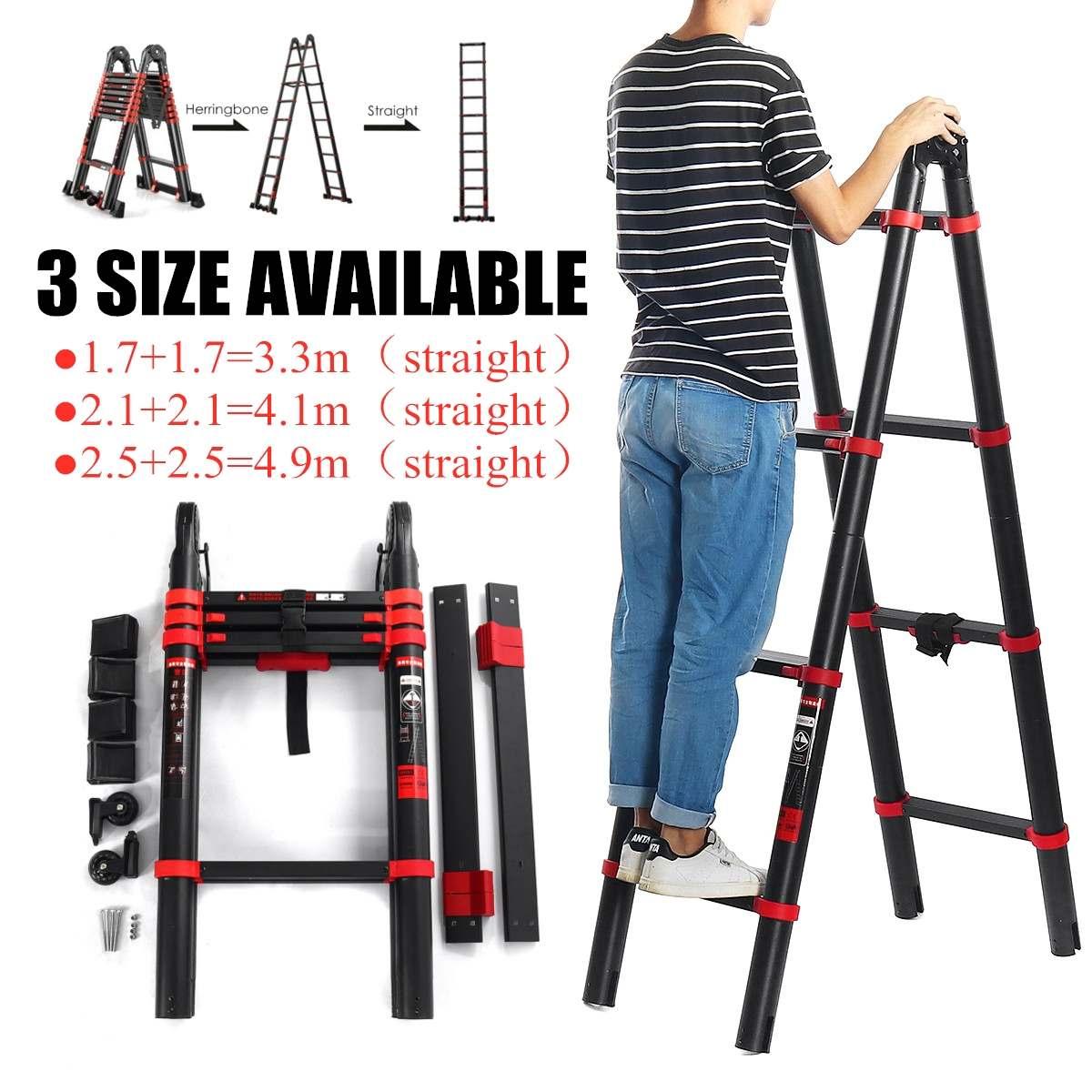 4.1M Telescoping Dual-Use Herringbone Ladder Multifunctional Extension Tools Width 82mm Aluminium Ladders 5 Steps