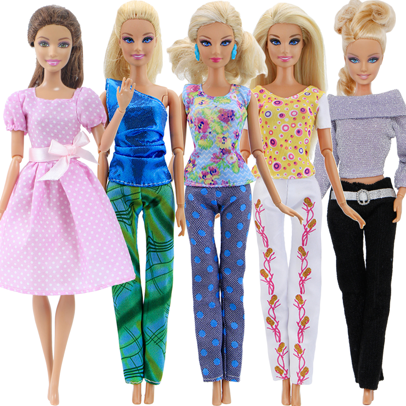 5x Daily Doll Clothes = 1 Cute Girl Dress + 4 Lady Outfits For Barbie Doll House Accessories Kid Toy Set Blouse Pants Trousers