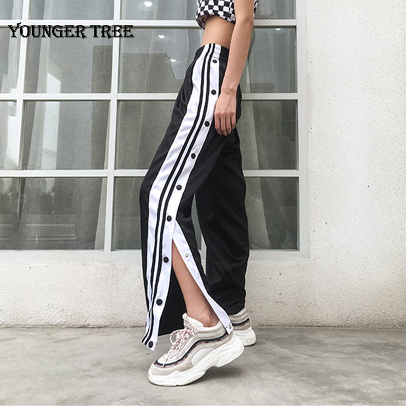 Casual Satin Pants Side Button Striped Split Pants Women Black High Waist Straight Sweatpants Pantalon Femme Streetwear New