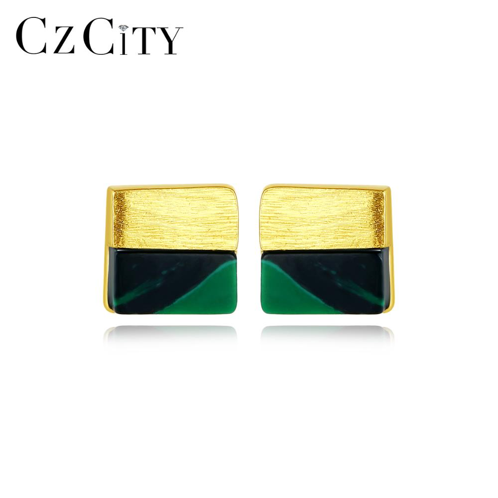 CZCITY Sophisticated Pure 925 Sterling Silver Square Turquoise Stud Earrings For Women OL Brushed Earrings Fine Jewelry SE0372