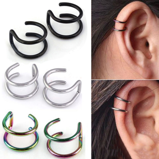 1 Pair <font><b>Unisex</b></font> Women Ear <font><b>Clip</b></font> punk Stainless Steel <font><b>earrings</b></font> 2-Row Fake Cartilage Ear Nose Lip Cuff <font><b>Clip</b></font> <font><b>On</b></font> <font><b>Earrings</b></font> Gifts image