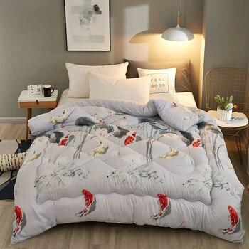 Edredón de invierno de estilo de dibujos animados de lujo impreso manta de 4 estaciones cálido/cómodo relleno de cama edredón de tamaño doble a King