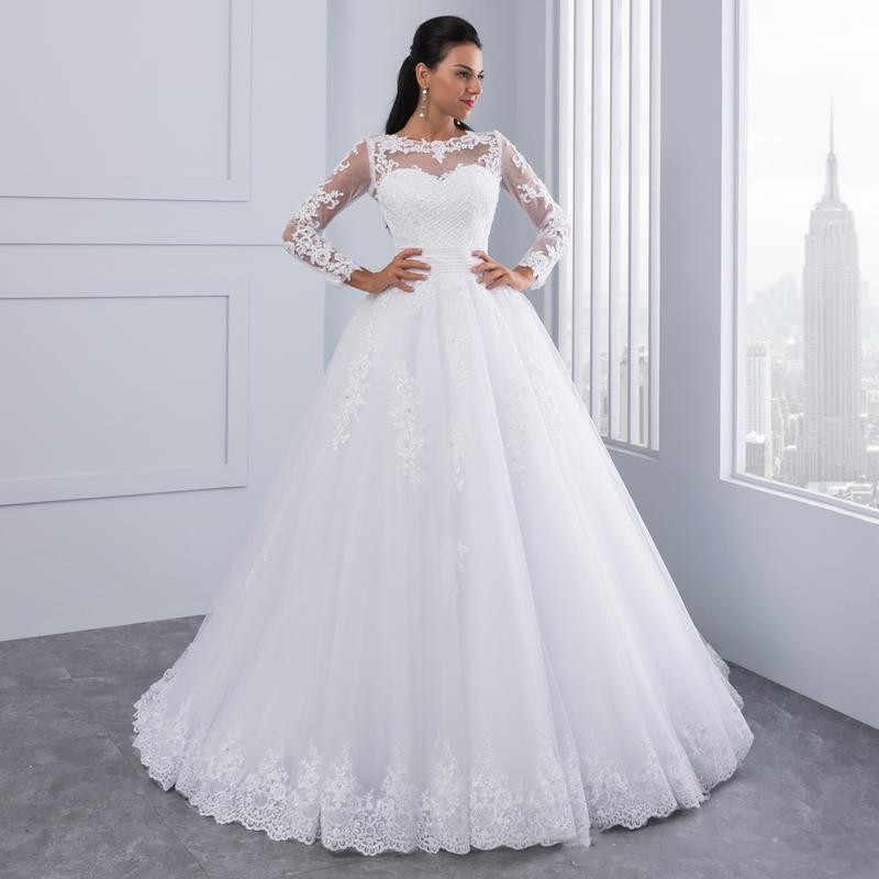 כדור שמלת 2 ב 1 חתונת שמלות 2019 נתיק רכבת תחרת אפליקציות פניני כלה שמלות Vestido דה Novias Vestidos דה noiva