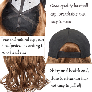 Image 5 - BENEHAIR Baseball Cap With Hair Long Wavy Fake Hair Hat Wig Synthetic Hair Extensions Hat With Hair Natural Hairpiece For Women