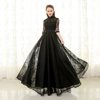 Gothic Design Black Lace Wedding Dress High Neck Half Sleeve Black Pearls Hollow Back Floor Length Bridal Gowns Custom Size Plus