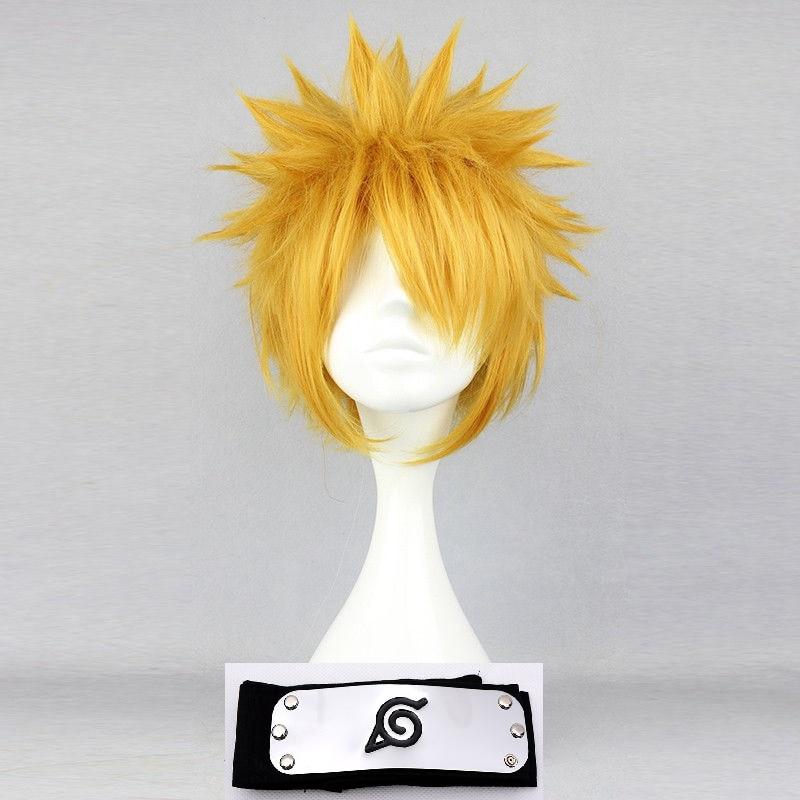 Anime Naruto Uzumaki Cosplay Wig Short Golden Fluffy Shaggy Layered Heat Resistant Synthetic Hair Wigs + Wig Cap + Headband