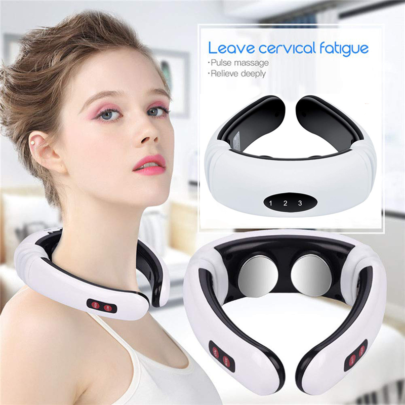 Electric pulse back and neck massager far infrared heating pain relief tool healthcare relaxation