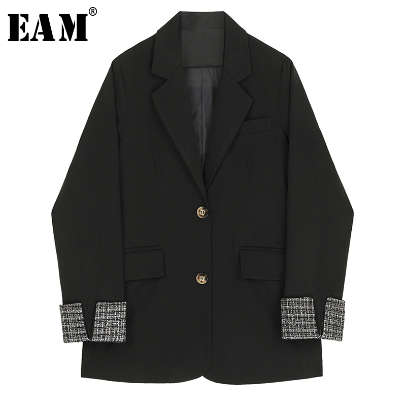 [EAM]  Women Black Plaid Split Joint Blazer New Lapel Long Sleeve Loose Fit  Jacket Fashion Tide Spring Autumn 2020 1R715