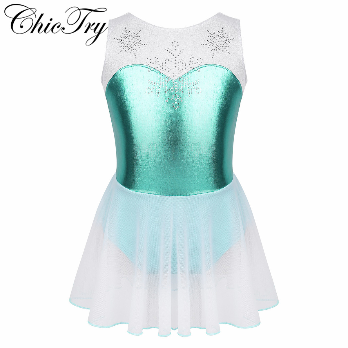 Kids Girls Dancewear Costume Sleeveless Shiny Rhinestone Snowflake Metallic Bodice Ballet Dance Gymnastics Leotard Tutu Dress