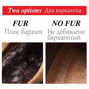 Image 2 - Bottines en cuir pour hommes, chaussures de neige chaudes en fourrure, de bonne qualité, confortables, chaudes, hiver, 48