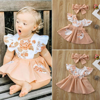 цена CANIS Summer Newborn Infant Baby Girl Clothes Flower Ruffles Backless Lovely Princess Dress Sundress Outfit онлайн в 2017 году