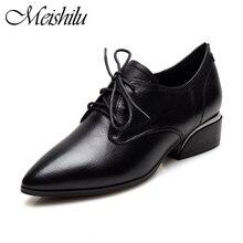 Meishilu Women Oxford Modern Stylish Business Leather Faux Lace Up Retro Smart Dress Shoes Wide Fit Wedding Office Flat Black