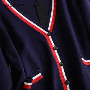 Image 5 - BIAORUINA mujer estilo pijo golpe Color cuello pico punto Cardigans mujer solo pecho moda suelta suéter de estilo coreano