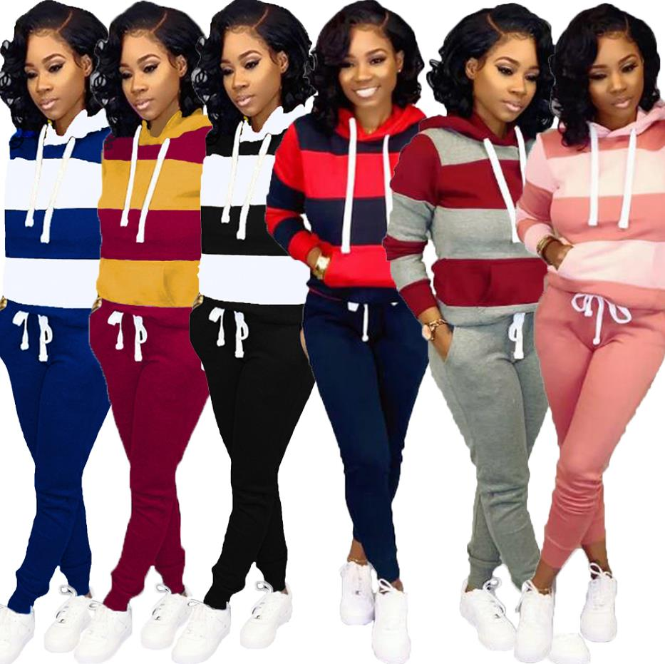 2019 Women Winter Women's Set Tracksuit Full Sleeve Hoodied Sweatshirt Pockets Pants Suit Two Piece Set Outfits Sweatsuit