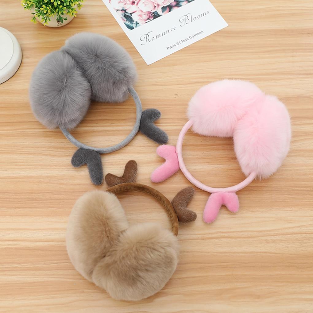 Women Girls Warm Earmuffs Cute Plush Elastic Outdoor Winter Ear Covers Cozy Ear Warmers