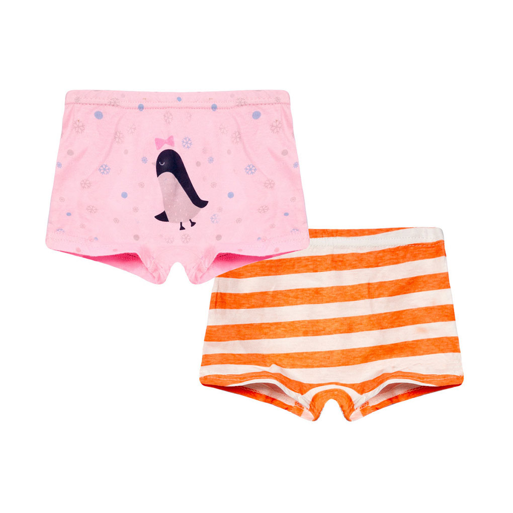 2019 New 2pcs/set Kids Girls Cartoon Animal Print Boxers Stripe Cotton Underwear Boyshort Briefs Panties Set Knickers