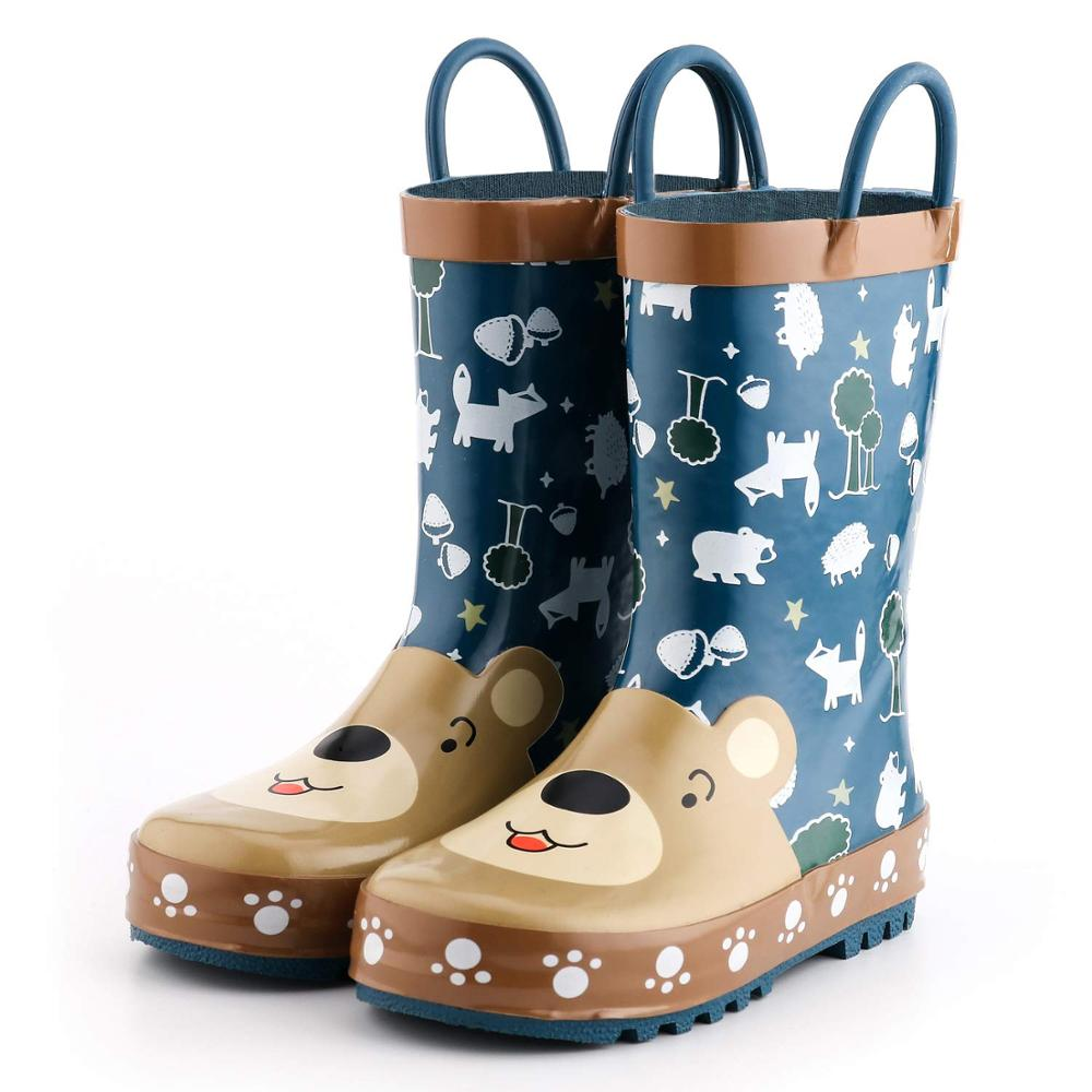 KushyShoo Rain Boots Kids Girls Waterproof Children's Rubber Boots 3D Cartoon Bear Printed Toddler Boy Rainboots