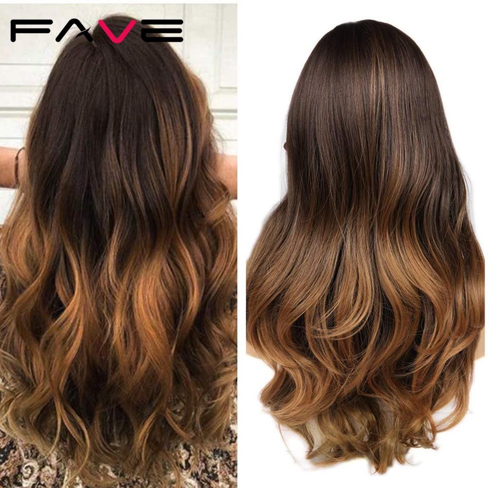 FAVE длинный Омбре коричневый волнистый парик блонд розовый фиолетовый розовый черный серый синтетический парик для женщин косплей волос вы...