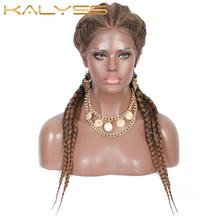 Cornrow Wigs Braided Baby-Hair Lace-Frontal Twist Kalyss 4-Ponytails Synthetic Hand Soft
