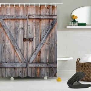 Image 5 - LB Rustic Old Wooden Barn Door Western Shower Curtain Set Swinging Saloon Doors Bathroom Waterproof Fabric For Art Bathtub Decor