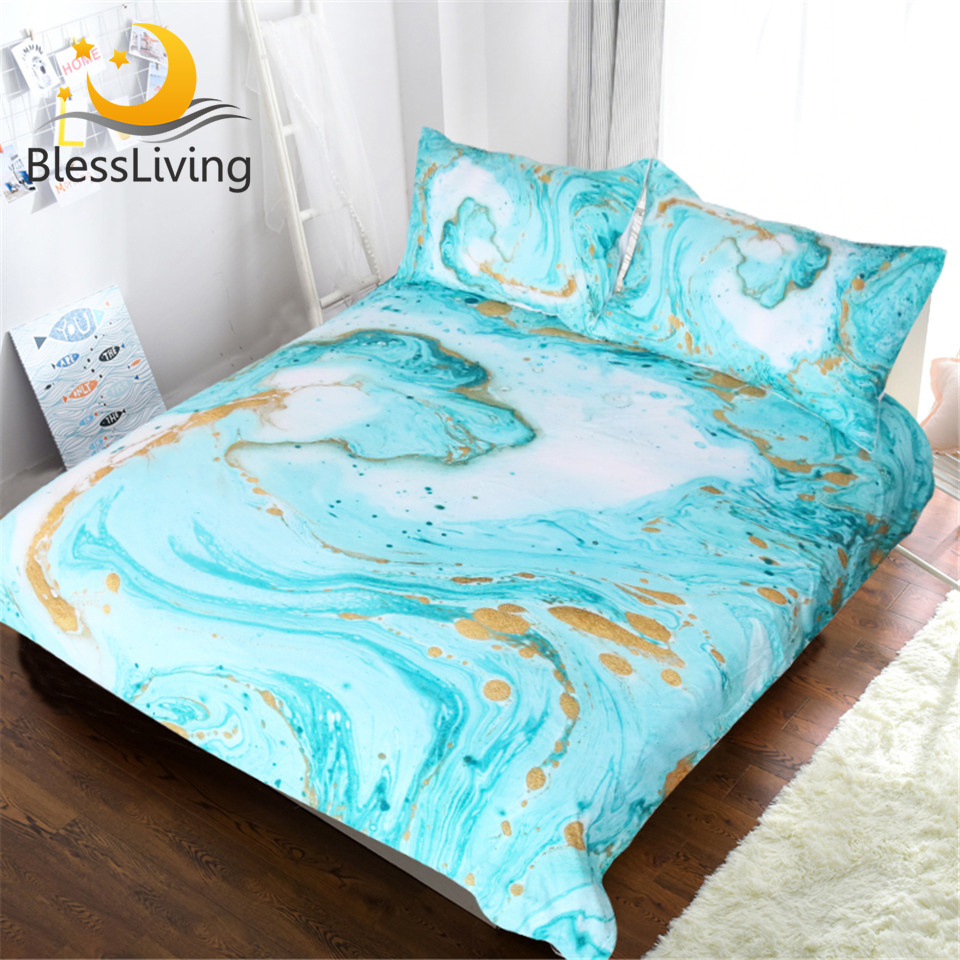 Blessliving Chic Girly Marble Duvet Cover Mint Gold Glitter Turquoise Bedding Comforter Set Abstract Aqua Teel Blue Quilt Cover