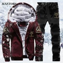 Mens Suits With Pants Autumn Winter Big Sizes Warm Tracksuit Sportswear Men's Running Sweatsuit Set 4XL Jogger Male Hoodies Coat