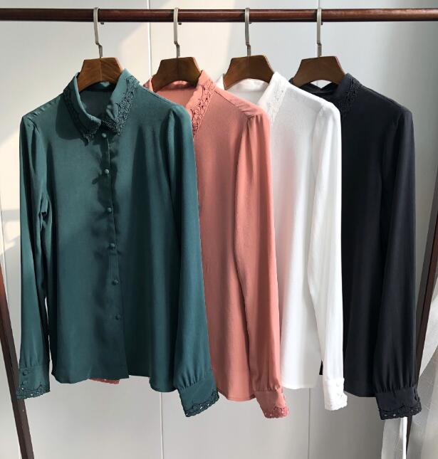 중공 수 놓은 실크 셔츠 빈티지 우아한 긴팔 셔츠 단추 라인 덮여 단추 블라우스-에서블라우스 & 셔츠부터 여성 의류 의  그룹 1