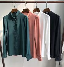 Camisa de seda bordada ahuecada Vintage elegante camisa de manga larga línea de botones con botones cubiertos blusa