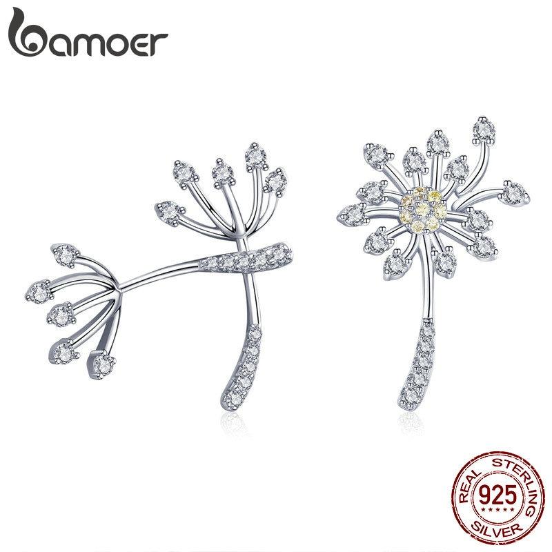 BAMOER Genuine 925 Sterling Silver Blooming Dandelion Love Exquisite Stud Earrings For Women Fashion Silver Jewelry SCE506