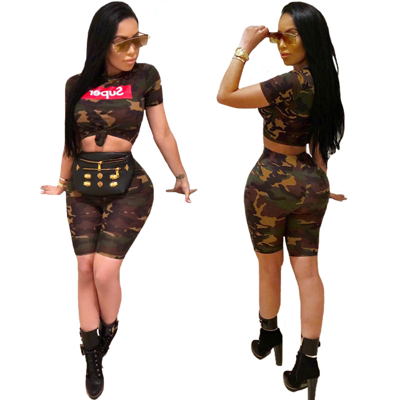 European And American-Style Hot Selling Fashion Women's Summer New Style Camouflage Printed Sleeves Sleeve + Shorts Set