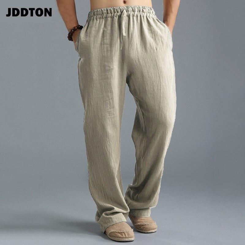 Linho de Algodão Jddton Masculino Calças Cintura Elástica Fino Respirável Casual Lavado Sweatpants Estilo Chinês Negócios Je057
