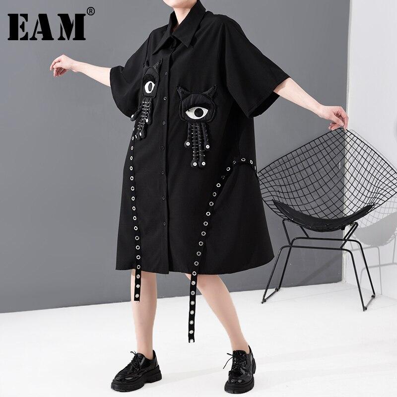 [EAM] Women Black Pattern Ribbon Big Size Shirt Dress New Lapel Short Sleeve Loose Fit Fashion Tide Spring Summer 2020 1T794