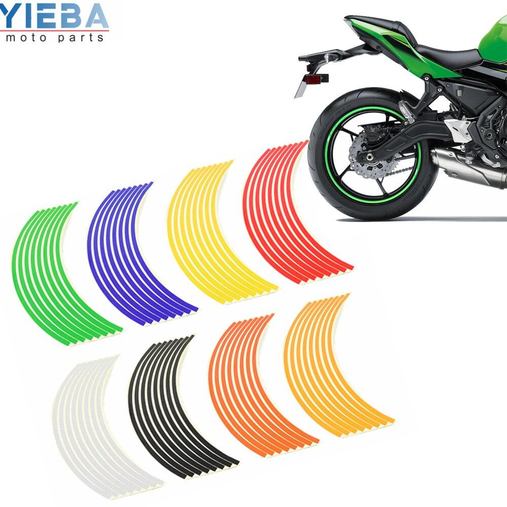 Motorcycle Sticker Car Wheel Tire Stickers Reflective Rim Band Exterior Accessories For ATV SUZUKI GSR 600 750 GS500 GSX 1300 R