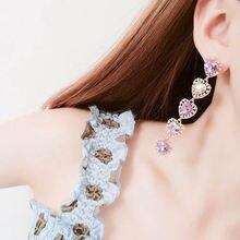 Корейские новые модные длинные серьги Стразы в форме сердца