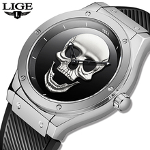 2019 New LIGE Men Fashion Business Quartz Clock Skull Silicone Strap Waterproof Sport Watches Mens Top Brand Luxury Chronograph