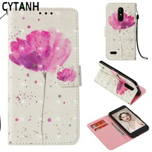 Pink Flower Leather Flip Case For LG K8 2018 Case Cover Luxury PU Leather Wallet Shockproof Case For LG K8 2018 K 8 LGK8 2018(China)