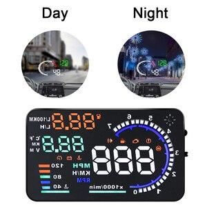 "Image 1 - OBD2 HUD سيارة رئيس يصل عرض 5.5 ""A8 4"" X6 بيانات أداة تشخيص LED الزجاج الأمامي العارض سرعة الوقود تحذير الجهد إنذار"